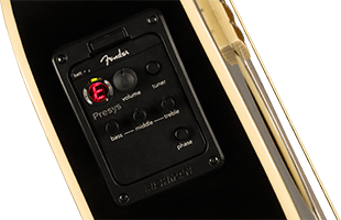 detail view of Fender Tim Armstrong Anniversary Hellcat showing Fishman Presys III preamp and tuner controls