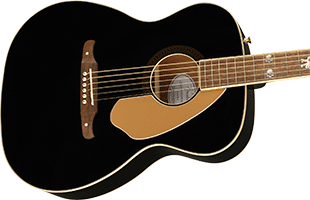 close-up perspective view of Fender Tim Armstrong Anniversary Hellcat showing top and right side of body and portion of fretboard