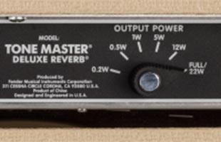 detail image of Fender Tone Master Deluxe Reverb Blonde amplifier rear panel showing 6-way power attenuator switch