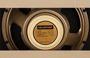close-up image of Fender Tone Master Deluxe Reverb Blonde amplifier back showing Celestion Neo Creamback speaker