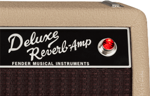 detail image of Fender Tone Master Deluxe Reverb Blonde amplifier showing nameplate and power jewel