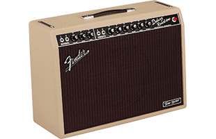 3/4 view of Fender Tone Master Deluxe Reverb Blonde amplifier showing front, top and left side