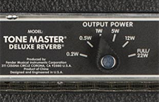 detail image of Fender Tone Master Deluxe Reverb amplifier rear panel showing 6-way power attenuator switch