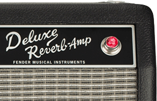 detail image of Fender Tone Master Deluxe Reverb amplifier showing nameplate and power jewel
