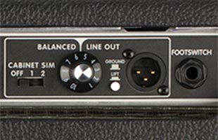 detail image of Fender Tone Master Deluxe Reverb amplifier rear panel showing balanced XLR line output and footswitch input