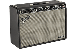 3/4 view of Fender Tone Master Deluxe Reverb amplifier showing front, top and left side