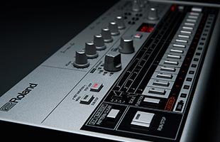 detail image of Roland TR-06 panel showing sequencer controls and step buttons