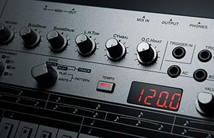 detail image of Roland TR-06 panel showing tempo display