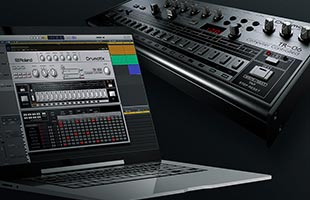 collage image of Roland TR-06 with laptop computer running Roland TR-606 Software Rhythm Composer