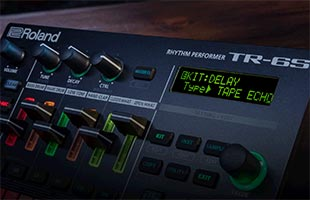 detail image of Roland TR-6S display showing effects parameters