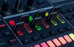 detail image of Roland TR-6S panel showing track volume sliders