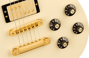 detail image of Fender Troublemaker Tele showing knobs, bridge and pickup