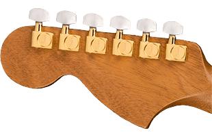 detail image of Fender Troublemaker Tele headstock back showing gold hardware