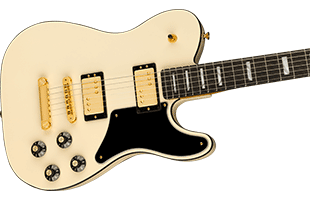 close-up front view of Fender Troublemaker Tele showing body
