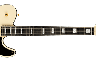 detail image of Fender Troublemaker Tele showing neck and fingerboard