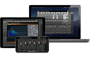 collage image of laptop computer, tablet and smartphone running audio software applications