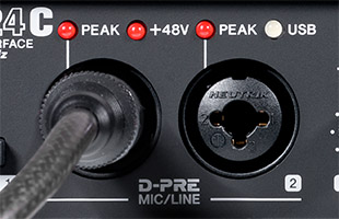 detail image of Steinberg UR24C showing microphone inputs with D-PRE branding
