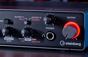 detail image of Steinberg UR24C front panel knobs with power indicating LED ring lit red