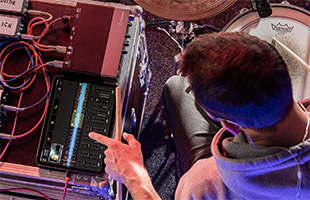 drummer using iPad and Steinberg UR24C to record