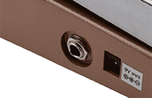 side detail view of Vox V847-C wah pedal showing input connector