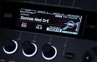 detail image of Roland TD-50X screen showing cymbal thickness adjustment settings interface