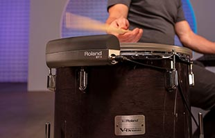 detail image of Roland VAD706 tom drum shell with Roland BT-1 attached
