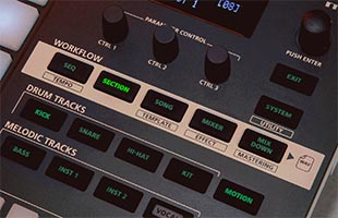 detail image of Roland Verselab MV-1 control panel showing workflow section