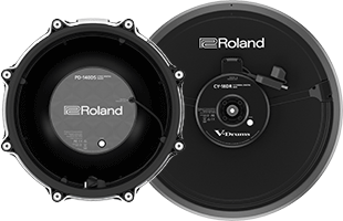 bottom view of Roland PD-14S digital snare and CY-18DR digital ride electronic drum pads