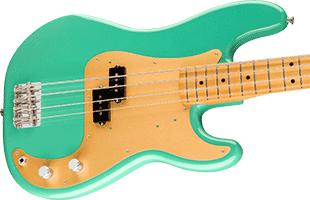 close-up image of Fender Vintera '50s Precision Bass showing alder body