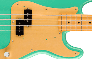 detail image of Fender Vintera '50s Precision Bass showing anodized aluminum pickguard