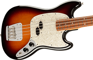 close-up of Fender Vintera '60s Mustang Bass showing body