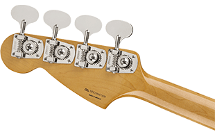 detail image of Fender Vintera '60s Mustang Bass showing back of headstock and portion of neck