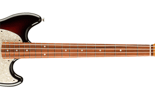 detail image of Fender Vintera '60s Mustang Bass showing fingerboard