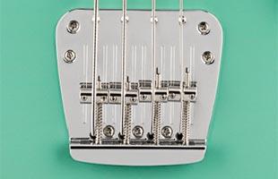 detail image of Fender Vintera '60s Mustang Bass showing bridge