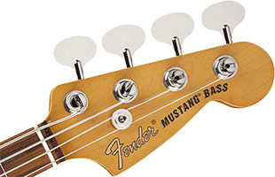 detail image of Fender Vintera '60s Mustang Bass showing headstock and tuning machines