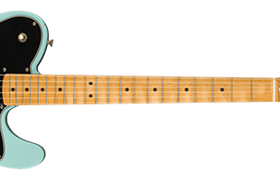 detail image of Fender Vintera Road Worn '70s Telecaster Deluxe - Daphne Blue guitar body showing fingerboard