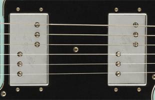 detail image of Fender Vintera Road Worn '70s Telecaster Deluxe - Daphne Blue guitar body showing pickups