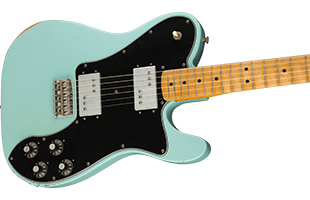 detail image of Fender Vintera Road Worn '70s Telecaster Deluxe - Daphne Blue guitar body showing finish