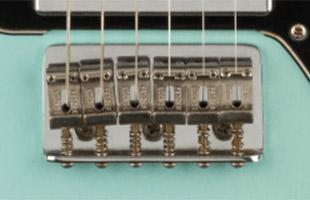 detail image of Fender Vintera Road Worn '70s Telecaster Deluxe - Daphne Blue guitar body showing bridge