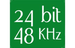 text badge declaring 24-bit 48 kHz fidelity