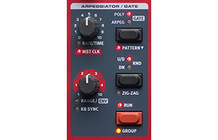 detail image of Nord Wave 2 top panel showing Arpeggiator control section