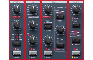 detail image of Nord Wave 2 top panel showing Effects, EQ, Reverb and Delay control sections