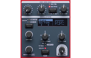detail image of Nord Wave 2 top panel showing Oscillator control section