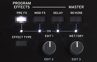 detail image of Korg Wavestate effects controls on top panel