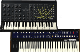 collage image of Korg MS-20 and Korg Polysix synthesizers