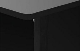 detail image of On-Stage WSR7500 Rack Cabinet showing black frame finish and rosewood laminate surface finishes