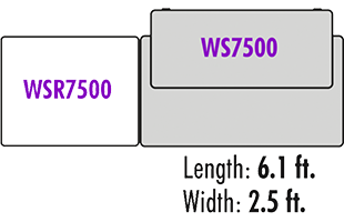 plan view diagram showing On-Stage WSR7500 Rack Cabinet configured on the left side of On-Stage WS7500 Workstation Desk and overall dimensions of 6.1 ft. length and 2.5 ft. width