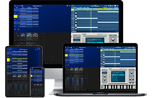 collage image showing Korg Gadget 2 Le software running on phone, tablet, laptop and desktop computing devices