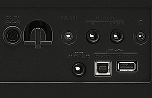 detail image of Korg XE20 rear panel showing audio/data connections