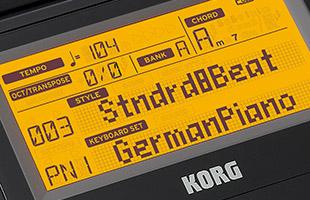 closeup of Korg XE20 screen showing GermanPiano sound selected